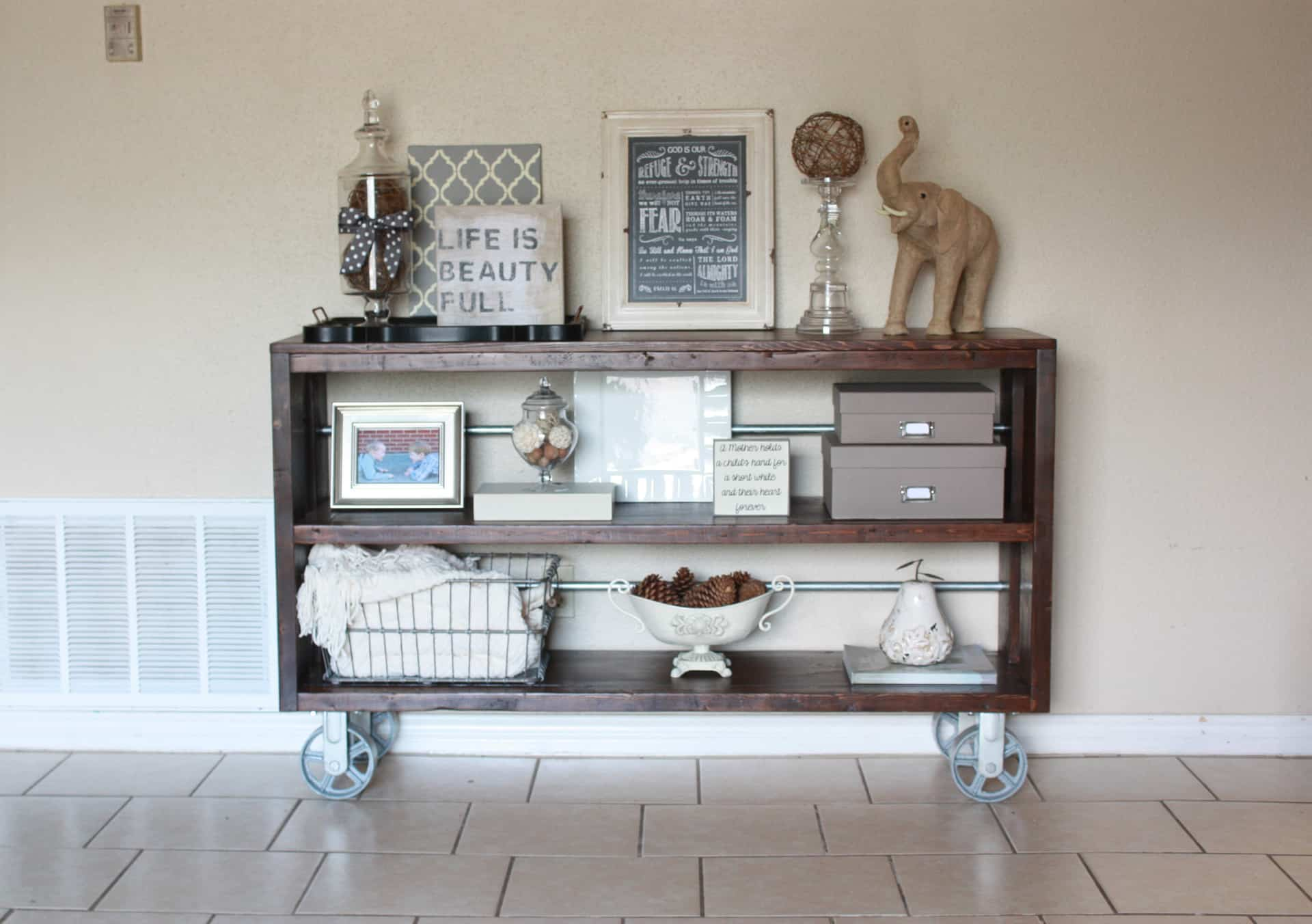 Wood and Steel Console Table with Casters - Restoration Hardware Knockoff