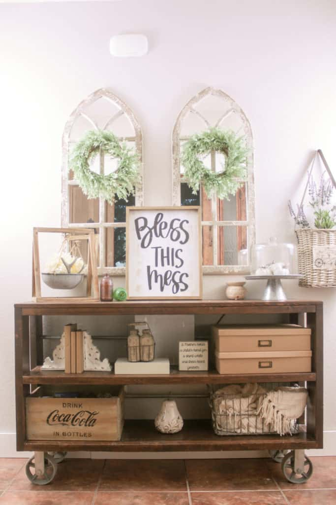 DIY Restoration Hardware Wood and Steel Console Table