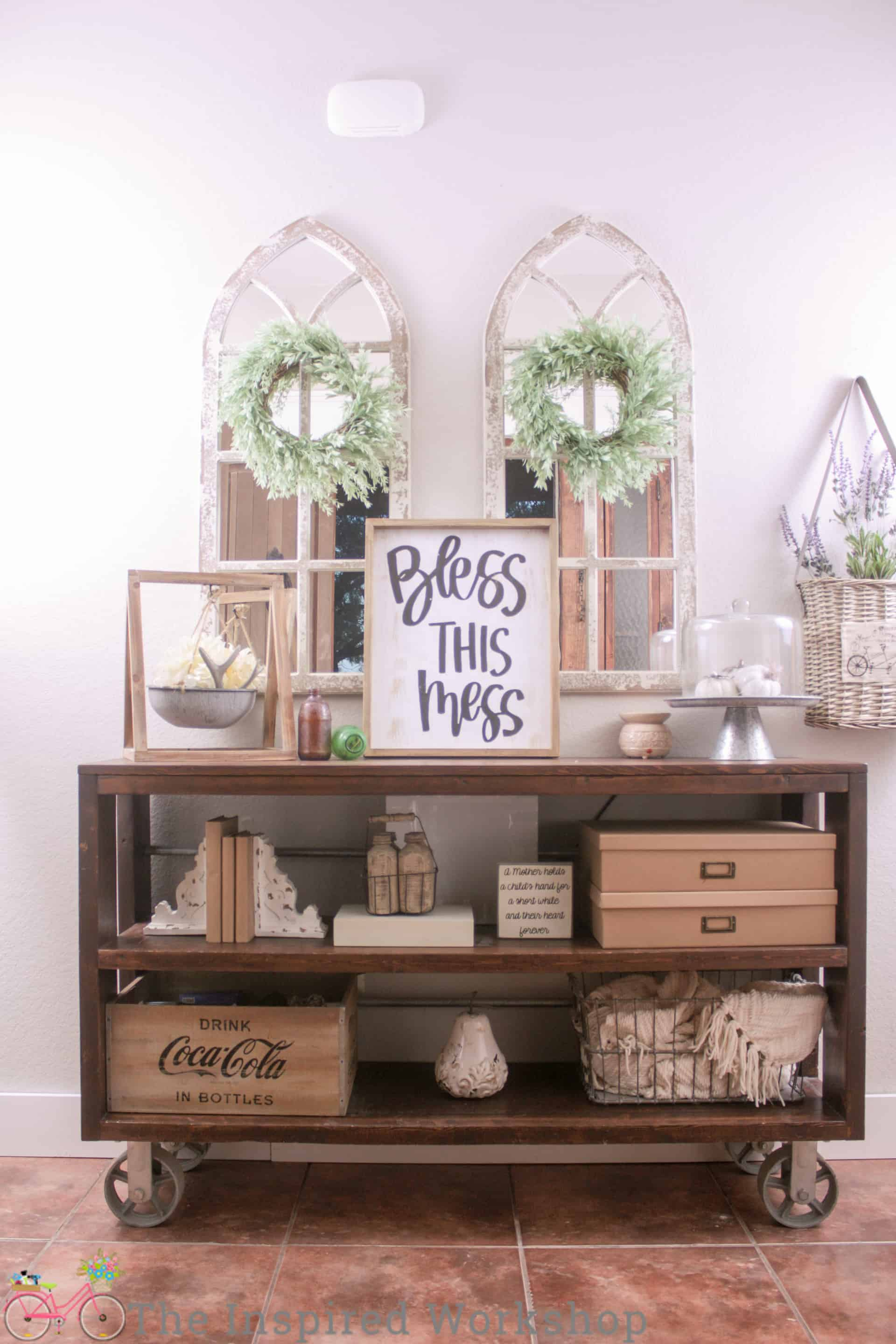 DIY Wood and Steel Console Table - Restoration Hardware Knockoff