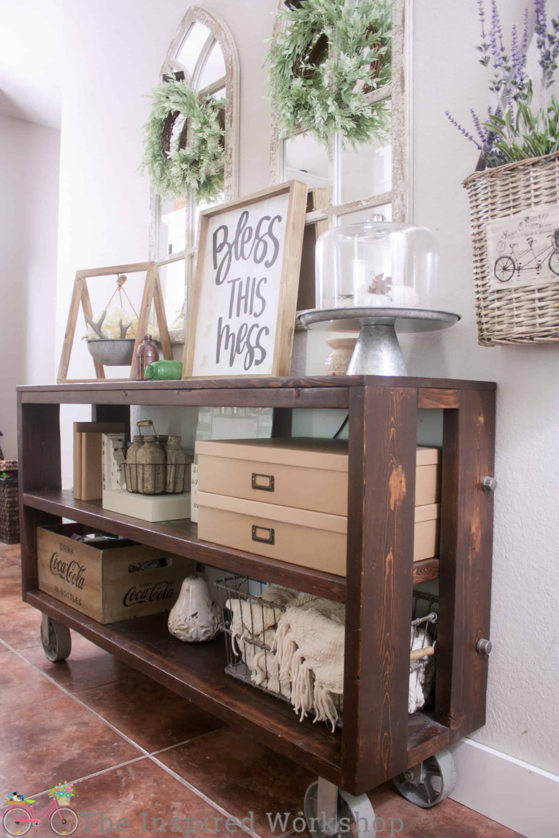 Restoration Hardware Knockoff Wood and Steel Console Table