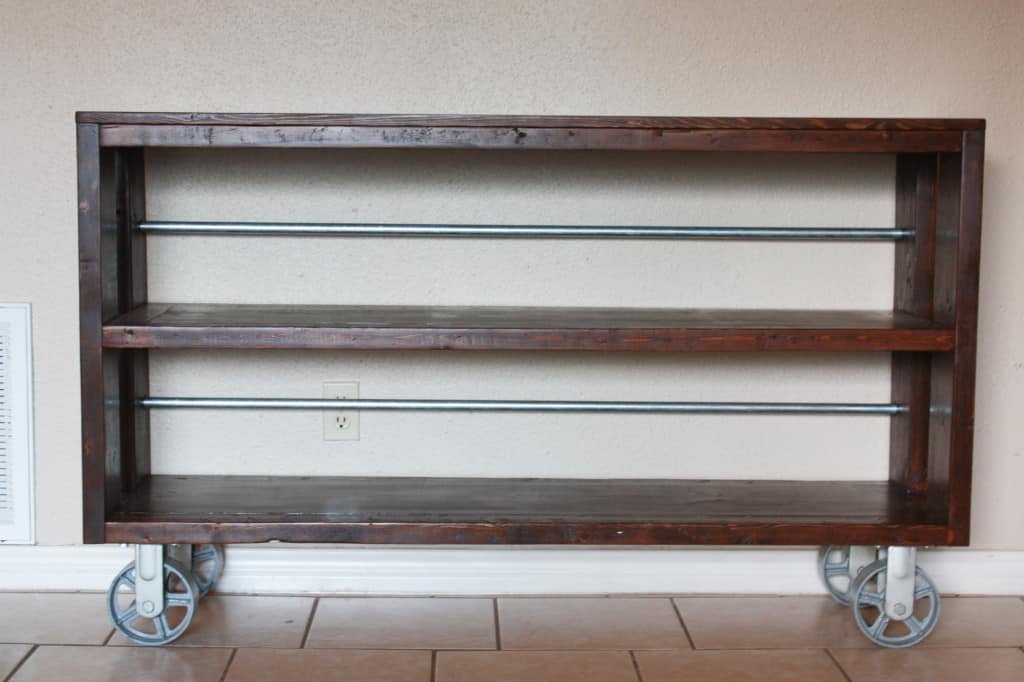 DIY Knockoff Restoration Hardware Wood and Steel Console Table