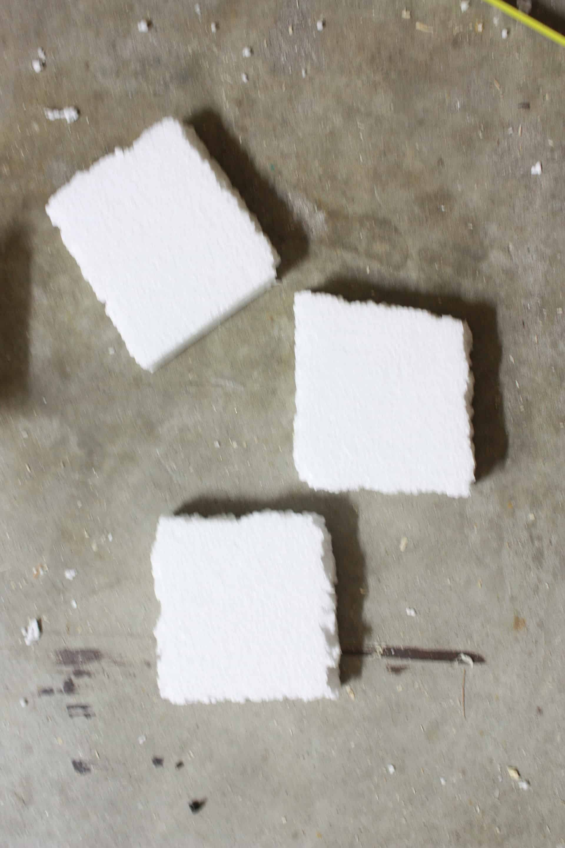 styrofoam for the wooden vases cut to size