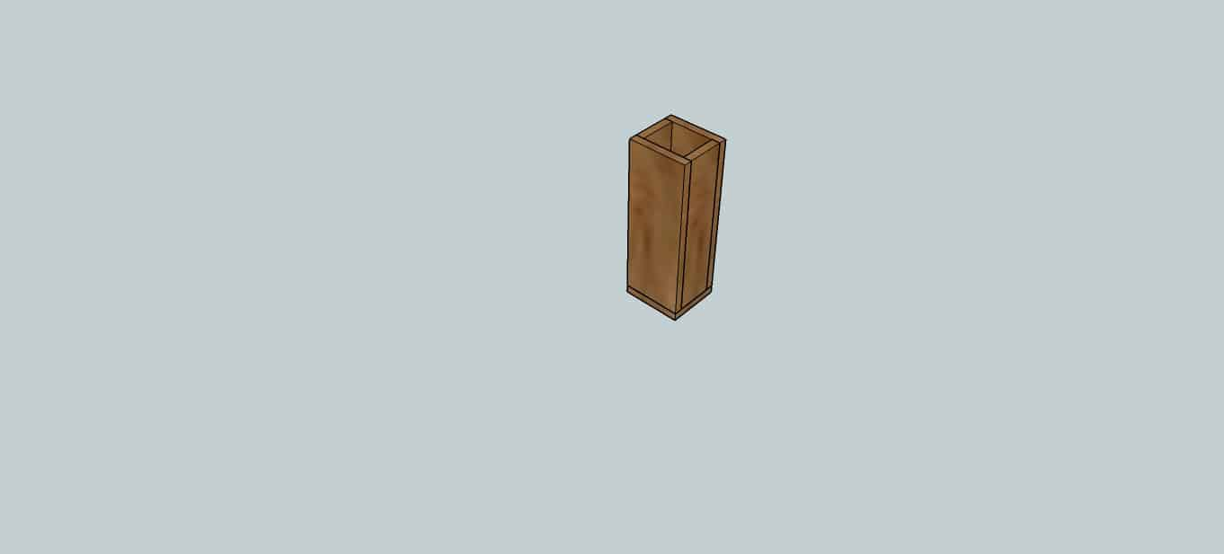 Tall wooden flower vase or wooden floral box
