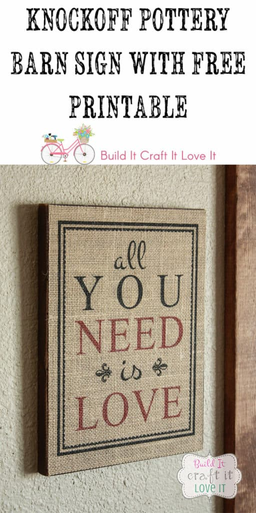 Burlap Pottery Barn Sign