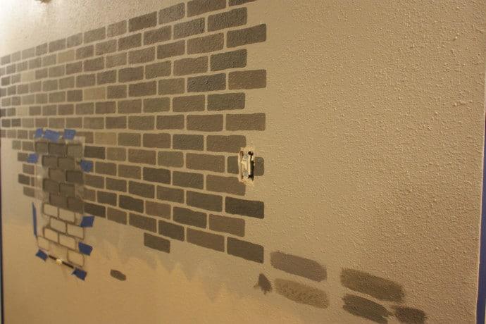 DIY Stenciled Brick Wall - 50 shades of gray
