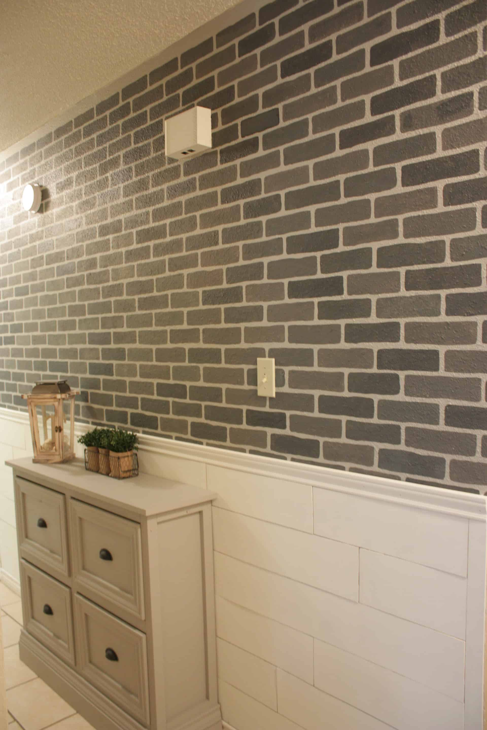 DIY Stenciled Brick Wall