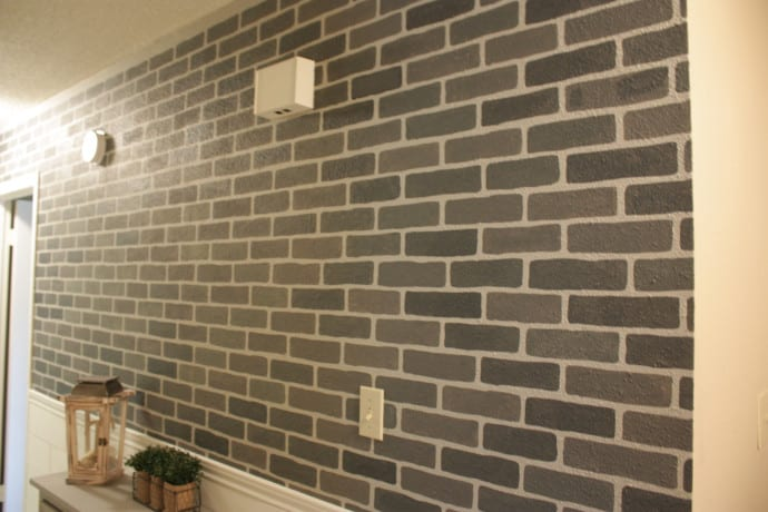 DIY Stenciled Brick Wall - farmhouse decor