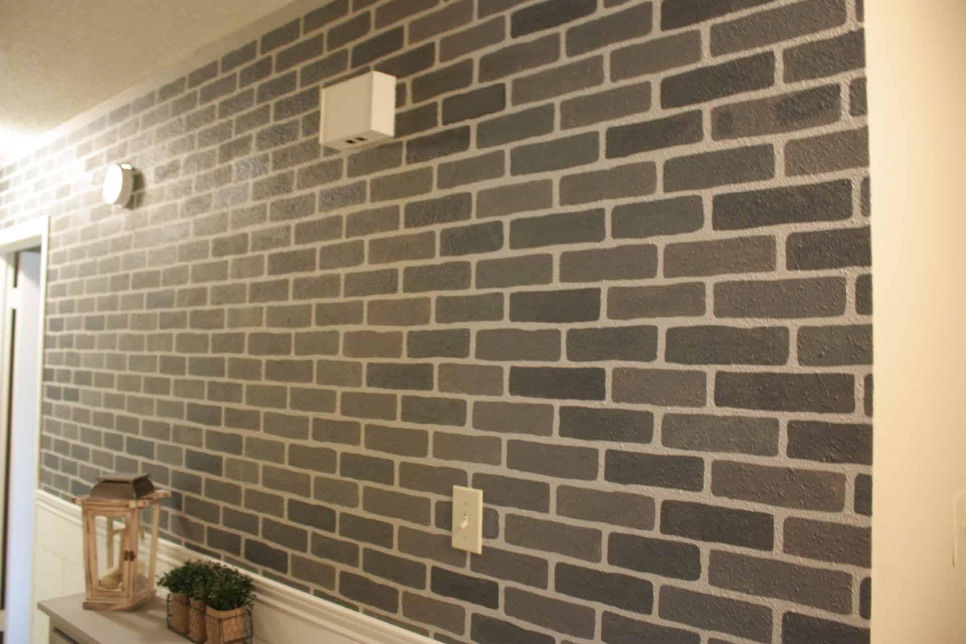 DIY Stenciled Brick Wall