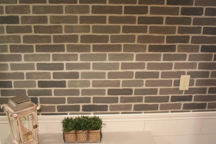 DIY Stenciled Brick Wall using cutting edge stencils