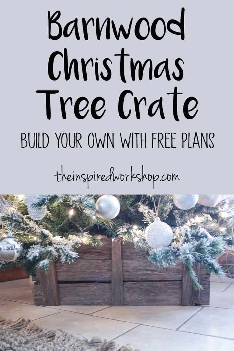 No need for a tree skirt when you build this beautiful Christmas Tree stand out of barnwood or pallet wood you can get for free! This can be used after the holidays for many other purposes as well! #barnwood #diychristmastreestand #diytreeskirt