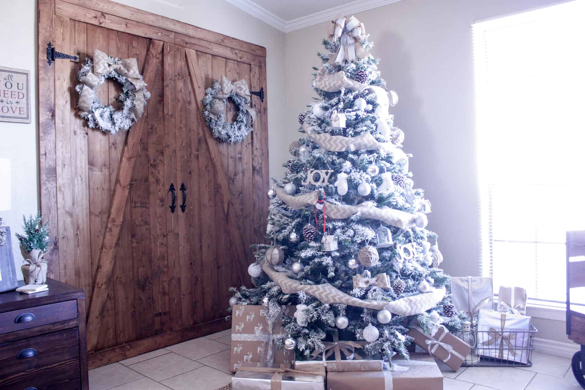 Christmas Tree in front of DIY Barn door