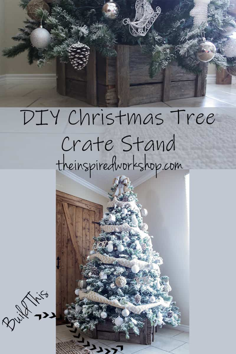 DIY Christmas Tree Crate Stand - Adorn the bottom of your Christmas Tree with this beautiful crate made of barnwood instead of a tree skirt! Looks so great and hides the ugly metal stand perfectly! Use it elsewhere in the home as decor when not in use under the tree! Paint or stain it to match your Christmas decor! Get the step by step instructions on theinspiredworkshop.com