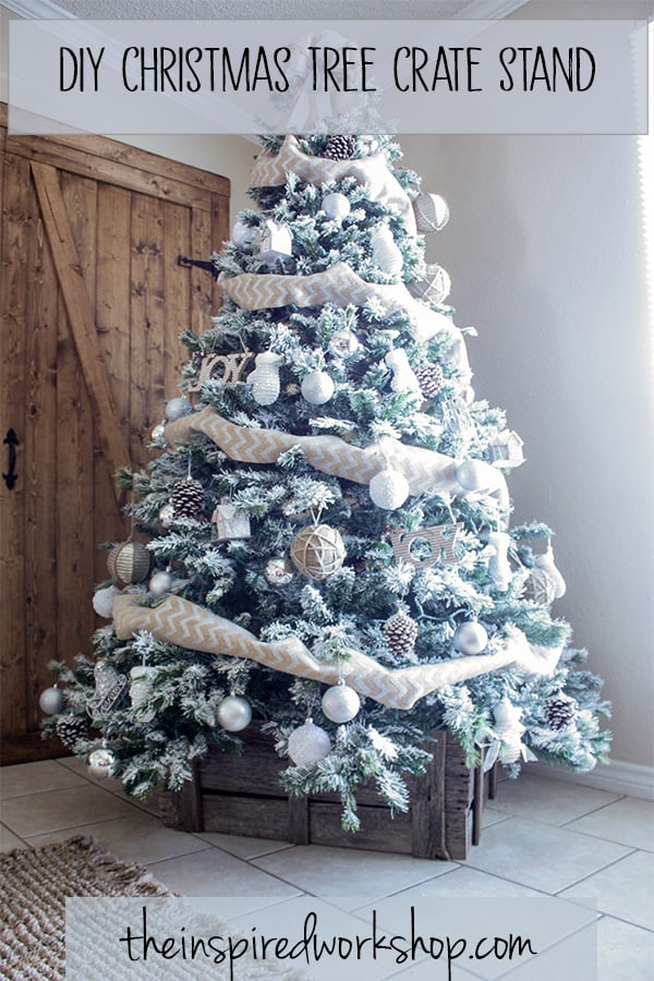 DIY Christmas Tree Crate Stand - Adorn the bottom of your Christmas Tree with this beautiful crate made of barnwood instead of a tree skirt! Looks so great and hides the ugly metal stand perfectly! Use it elsewhere in the home as decor when not in use under the tree! Paint or stain it to match your Christmas decor!