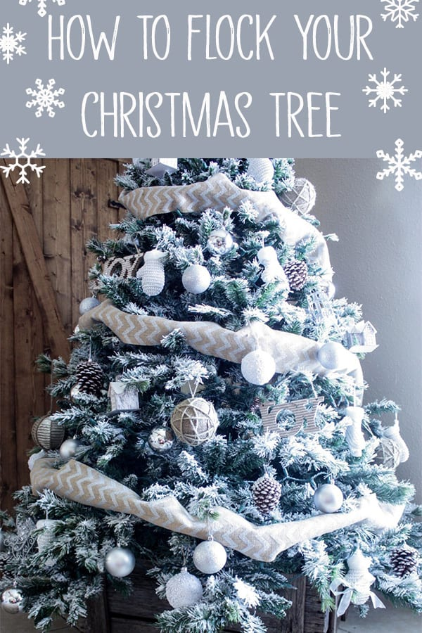 How to Flock A Christmas Tree - Want a flcoked tree, but don't want to spend hundreds of dollars on a new tree? Makeover your current tree with a bag of snow flock and a strainer. So cheap and easy, you'll be flocking all your christmas decor! #flockedreaths #snowflock #diyflockedtree