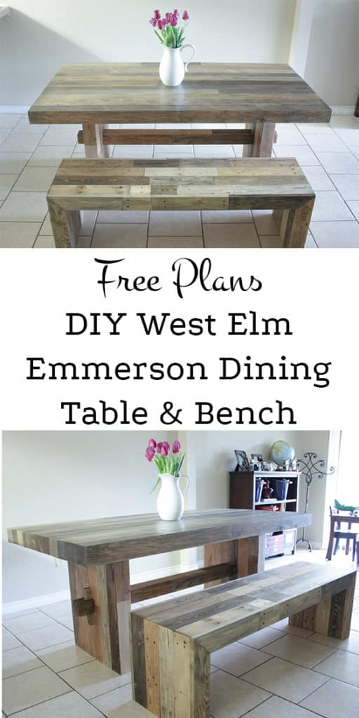 Diy West Elm Emmerson Dining Table - Build It Craft It Love It - Free tutorial to build this beautiful table and bench! New wood used to look like reclaimed wood