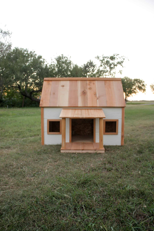 DIY Doghouse - cute little doghouse with cedar roof and cedar accents