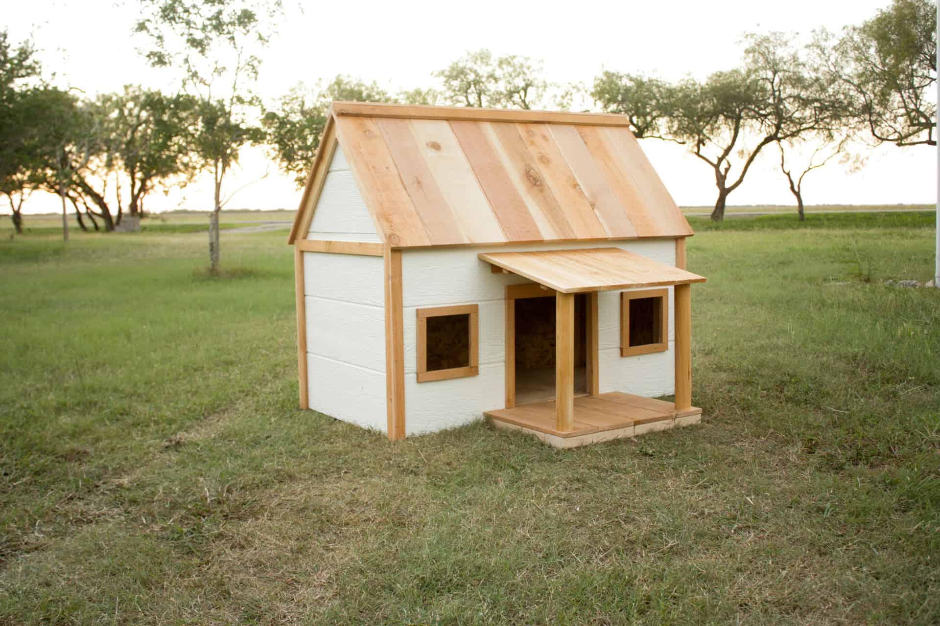 DIY Doghouse with Porch - cedar roof