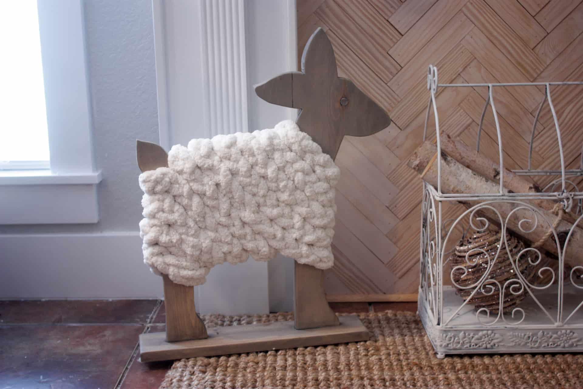 Wooden Deer Decor - Deer made of scrap wood and wrapped in big yarn