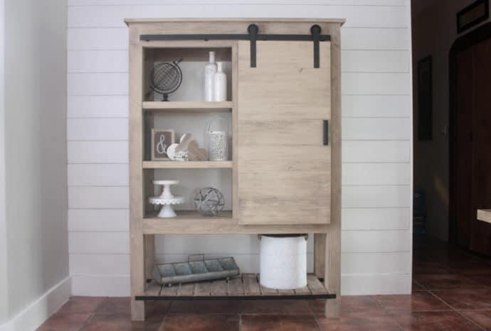 DIY Barn Door Bookcase - Arhaus Inspired
