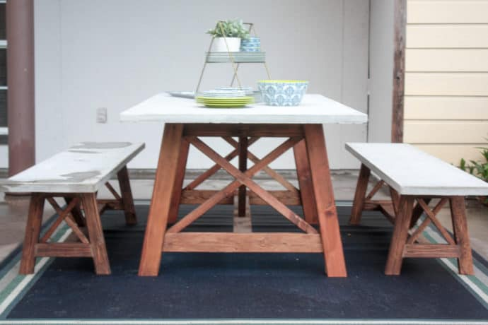 X Base Concrete Top Outdoor Dining Table