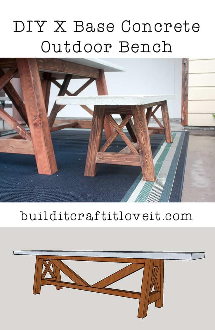 X Base Outdoor Concrete Bench
