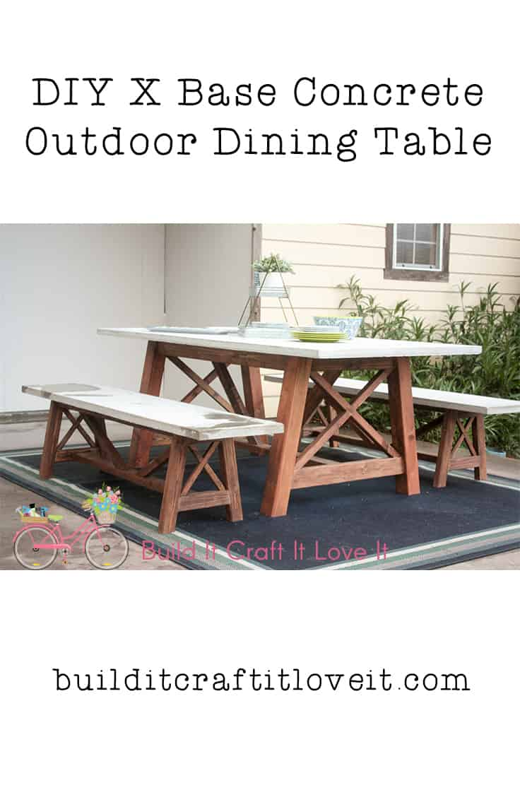 X Base Outdoor Concrete Dining Table