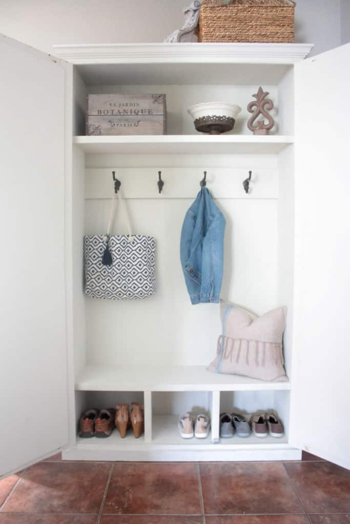 DIY Mudroom in an Armoire