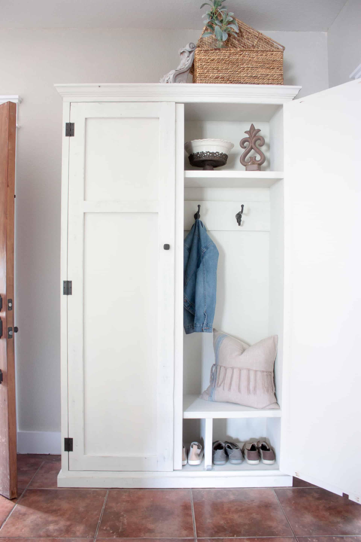 DIY Mudroom in an Armoire