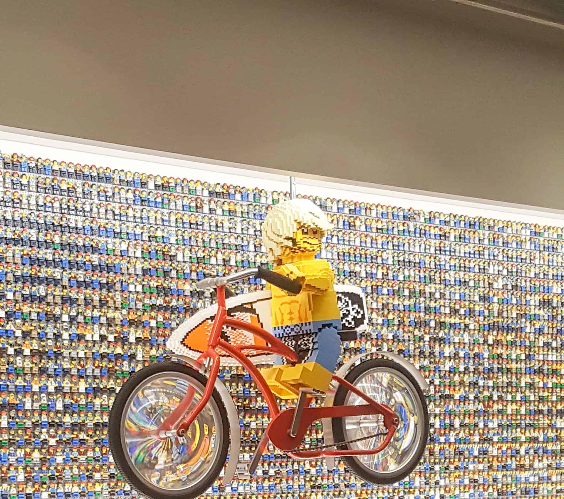 Legoland Florida Hotel Front desk lego minifigure wall