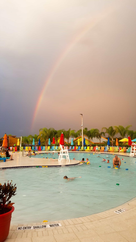 Legoland Florida rainbow over the swimming pool