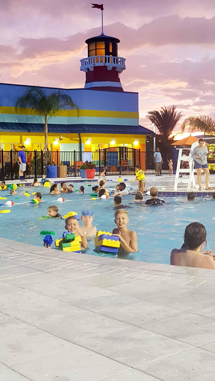 Legoland Florida Beach Retreat Hotel pool with large floating legos