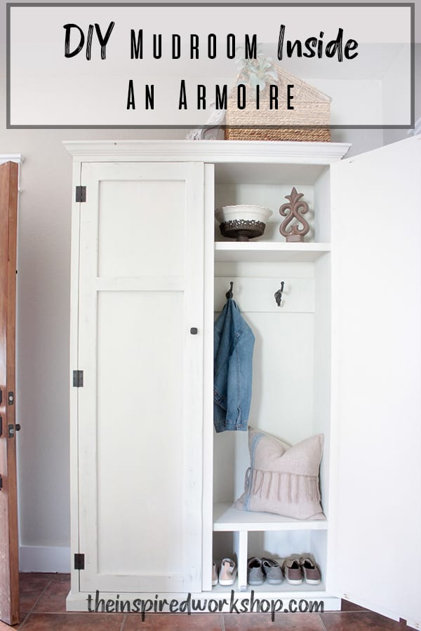 DIY Mudroom Inside an Armoire - This is the perfect solution if you love the mudroom look but are short on space or fear that your mudroom mess may not look as pretty as some staged photos online? Well this DIY mudroom inside an armoire is the perfect solution, just close the door on the mess when it gets out of hand! #entrywayorganizer #mudroom #diymudroom #entrywayfurniture