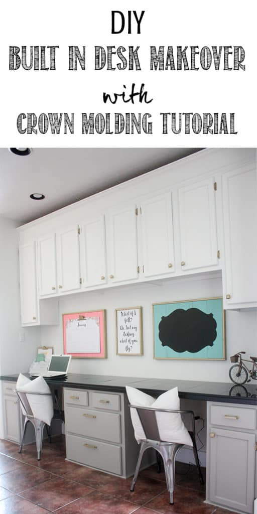 DIY Built In Desk Makeover with Crown Molding