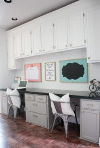 DIY Built in Desk Makeover with Crown Molding tutorial