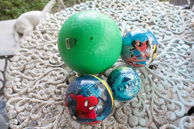 Bouncy balls to make scrap wood spiders
