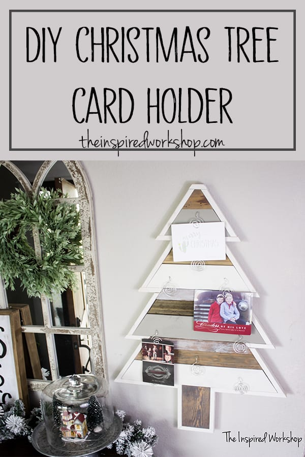 DIY Christmas Tree Card Holder - This simple DIY Christmas Tree is the perfect way to wrangle all your holiday cards and display them for everyone to see! Using a few pieces of scrap wood and molding you can throw one together to with the free plans provided on the blog! #diychristmasdecor #christmascardholder #diychristmastree #woodenchristmastree