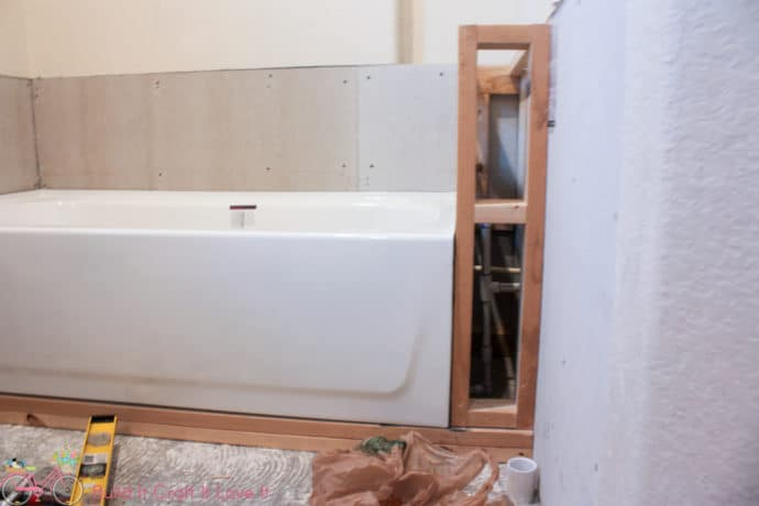 Plumbing fixes and Bathtub Install - One Room Challenge - Week 4