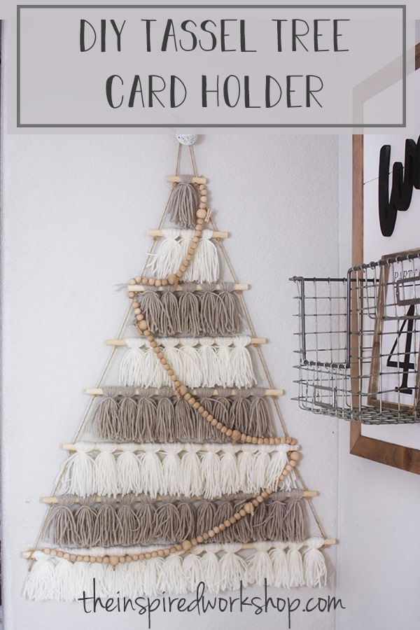DIY Tree Card Holder Made of Tassels