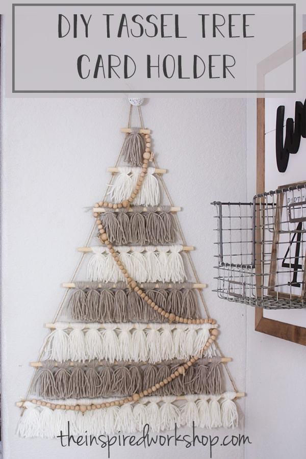 DIY Tree Card Holder Made of Tassels