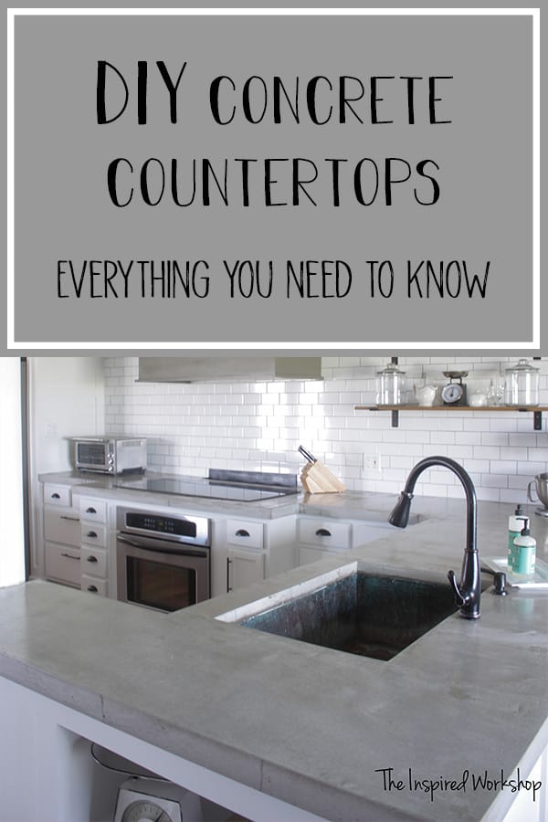 This DIY Kitchen Renovation includes a tutorial for DIY concrete countertops that were poured in place in both white concrete countertops and gray concrete countertops. Easy to follow how to tutorial.