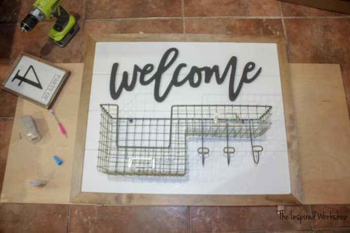 DIY Faux Shiplap Welcome Sign and Organizer