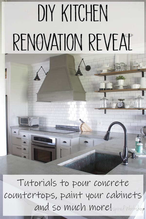 DIY Kitchen Renovation Reveal - You must see the before photos to appreciate the DIY renovation on this white and gray kitchen! A big and bold vent hood anchors the subway tile wall and adds a focal point in this beautiful kitchen! Learn how to renovate and transform your kitchen with all the information in the post! Pour concrete countertops, paint kitchen cabinets, extend cabinets to the ceiling, build a cabinet above your fridge and so much more! #diykitchenmakeover #kitchenrenovation #diykitchenreno #farmhousekitchen #venthood