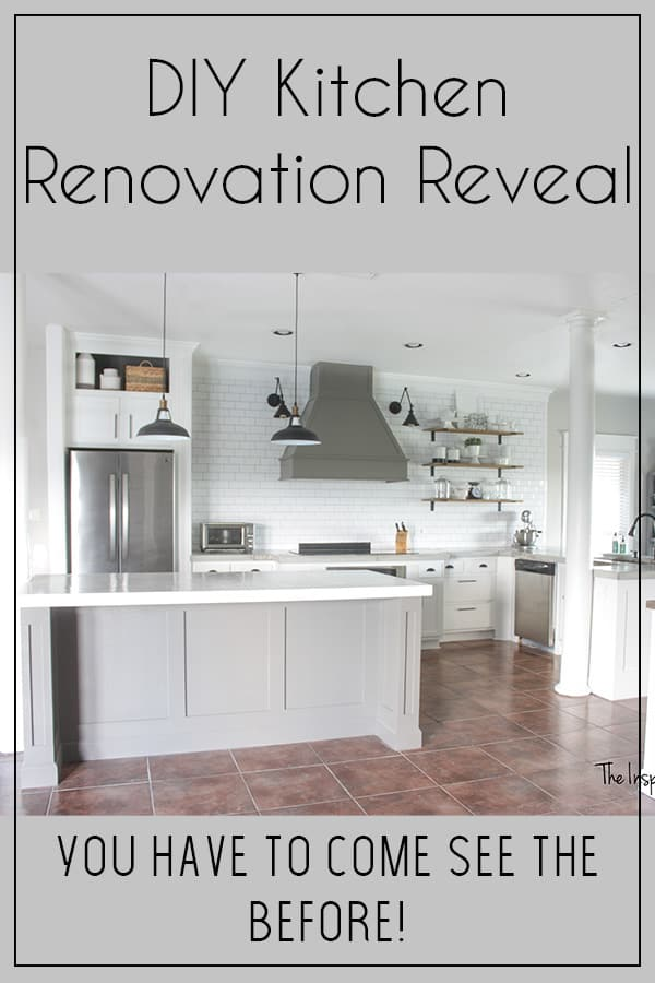 DIY Kitchen Renovation Reveal - In this Diy kitchen renovation I was able to do all the work calling in the back up of my hubby a few times! This old brown kitchen is now a beautiful white and gray kitchen complete with subway tile and open shelves! The vent hood anchors the large wall! I will share how I poured the kitchen countertops, painted the cabinets, built the vent hood, built out the island and so much more! Come see the before and after photos! #kitchenideas #kitcheninspiration #farmhousekitchen #farmhousestyle #diykitchenrenovation