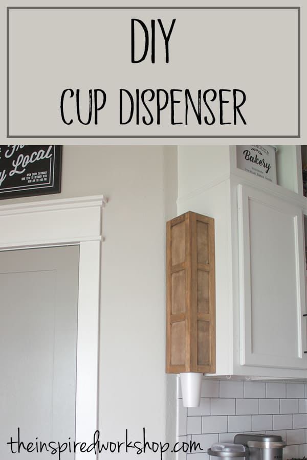 DIY Cup Dispenser - This cup dipenser is easy to build and solves a problem with disposable cups falling all around in the pantry! This saves space and orgaizes all the cups! Styrofoam cups, solo cups, party cups...you name it, this dispenser will dispense them! #cupholder #kitchenorganization #waterdispenser