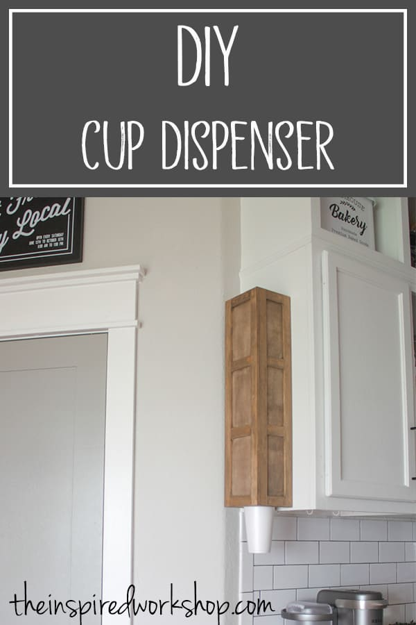 DIY Cup Dispenser - Do you like getting water out of a 5 gallon jug? Do you need an easy way for people to grab cups to get their water or other beverage? I have the perfect solution for you with this DIY Cup Dispenser! Minimal tools and supplies to make this great statement piece that not only looks great but organizes the cups and saves space in the pantry or kitchen cabinets! That sounds great to me! Lol! #cupholder #partyplanning #kitchenorganization