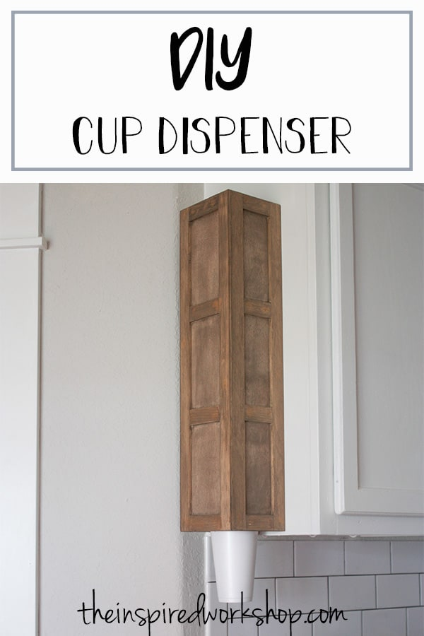 DIY Cup Dispenser - Have cups laying all over your pantry? Build this quick and simple DIY Cup Dispenser to wrangle all the cups and easily dispense them when family and friends are over! Minimal supplies for such high impact, it's definently an item you didn't even know you needed! Wall mount it, cabinet mount it, wherever is most convenient to get the cups! #kitchenorganization #pantryorganization #wallmountedcupholder