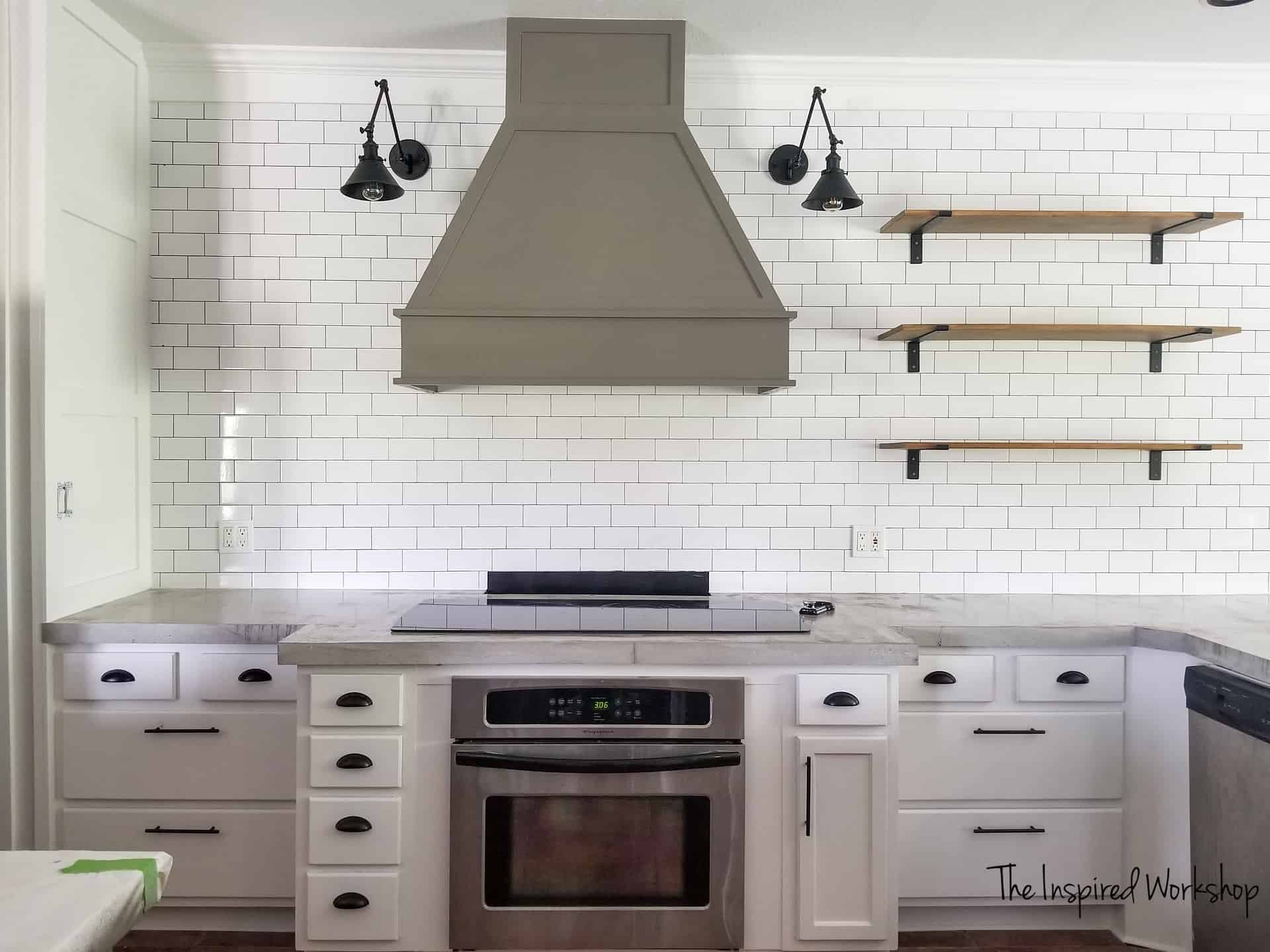 Kitchen Renovation Ideas - MOdern farmhouse style with subway tile, vent hood and white cabinets