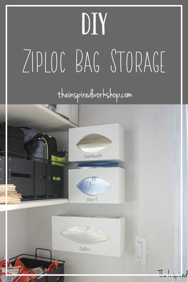 DIY Zipoc Bag Storage Organizer - This simple DIY ziploc bag storage solution is so easy to build and solves the problem of all those smashed cardboard boxes laying all over the pantry floor! Pantry organization, kitchen drawer organization and overall a great way to improve your space! #kitchenorganization #diybaggiestorage #pantrystoragesolution
