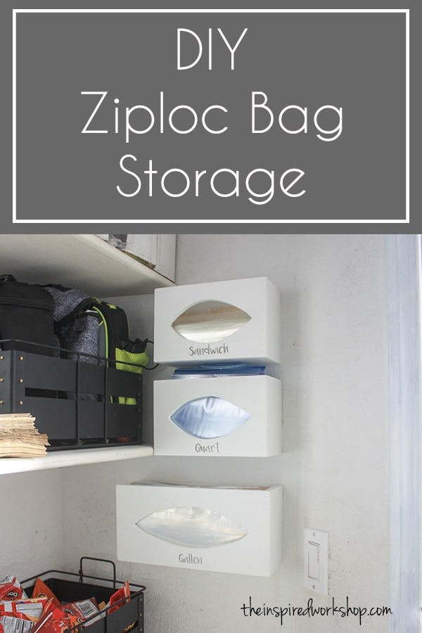This DIY ziploc bag storage organizer is the solution to all those pesky baggie boxes that fall to the floor or take up space in your kitchen drawers and cabinets! Make them in a few hours and have all the organization you need! Make 3 or make 6, it's easily customizable to your needs. #diypantrysolution #diybaggiestorage #kitchenorganization