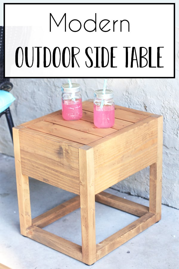 DIY Modern Outdoor Side Table - Perfect accent table to set your drinks on while enjoying some porch or patio sitting! The modern farmhouse design is perfect for any patio decor really. Spruce up your favorite outdoor area just in time for spring and summer! #patioideas #porchideas #diyoutdoorfurniture #diytable